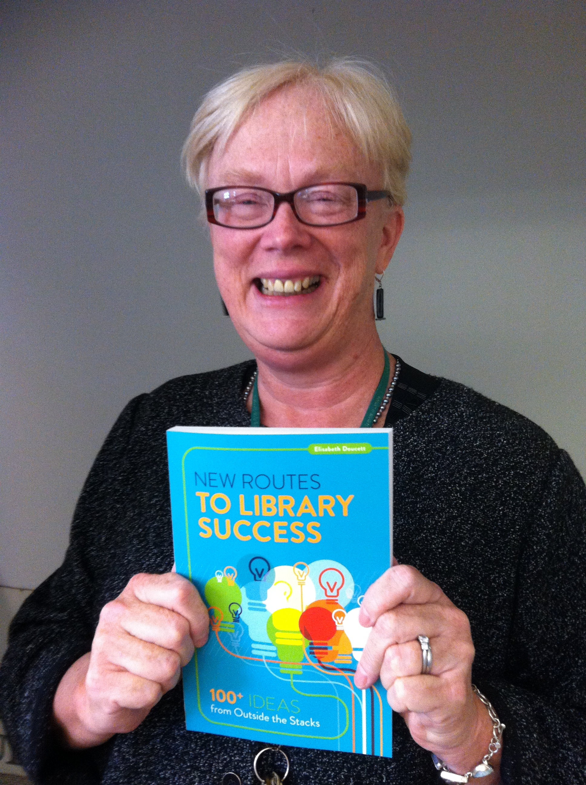 Elisabeth Doucett with her new book
